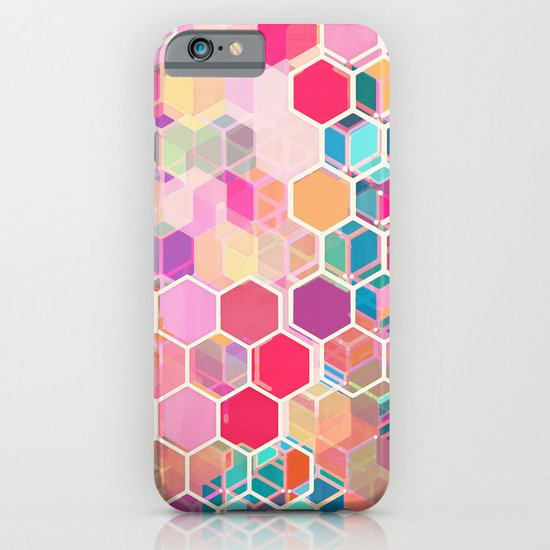 Rainbow Honeycomb - colorful hexagon pattern iPhone & iPod Case