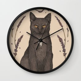 The Cat and Lavender Wall Clock