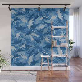 Camouflage Pattern Jurassic Dinosaurs Animal Print in Classic Blues Wall Mural
