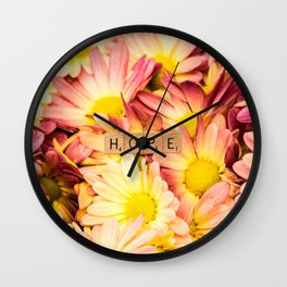 Multi-colored Daises ~ HOPE Wall Clock