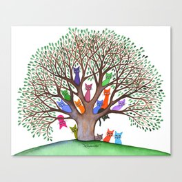 Topeka Whimsical Cats in Tree Canvas Print