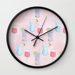 Cocktail Hour Neck Gator Long Island Iced Tea Wine and Tropical Cocktails Wall Clock