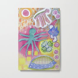 Blue Octopus and white Knight Metal Print
