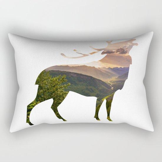 Elk Silhouette with Wilderness Inlay Rectangular Pillow
