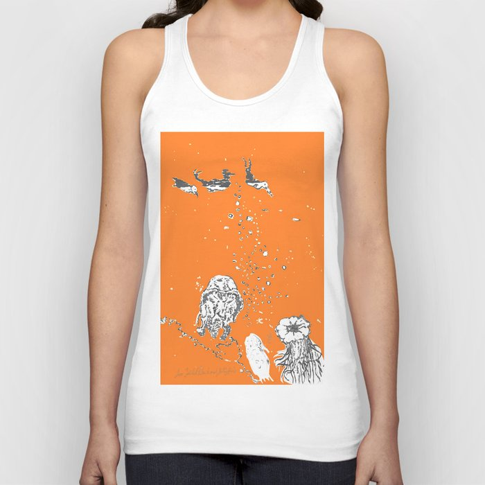 Two Tailed Duck and Jellyfish Orange Unisex Tank Top