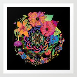 Neon Mandala and Flowers Art Print