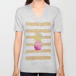 Modern pink watercolor pineapple faux gold glitter stripes Unisex V-Neck
