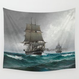 Vintage Sailing in Rough Waters Painting (1876) Wall Tapestry
