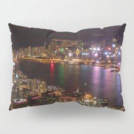 Night Lights on Hong Kong's Victoria Harbour Pillow Sham
