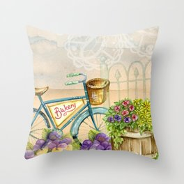 Old bike and flowers watercolor painting Throw Pillow
