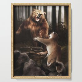 Grizzly vs Cougar (Digital Drawing) Serving Tray