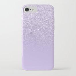 Stylish purple lavender glitter ombre color block iPhone Case
