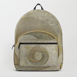 Geometrical Line Art Circle Distressed Gold Backpack