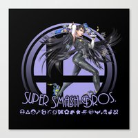 super smash bros Canvas Prints featuring Bayonetta - Super Smash Bros. by Donkey Inferno