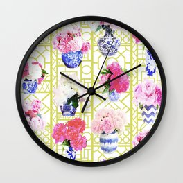 Peony Ginger Jars on Citron Trellis Wall Clock