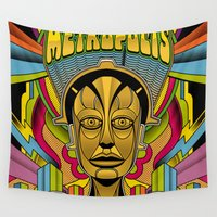 metropolis Wall Tapestries featuring Metropolis Pop by Roberlan Borges