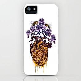 HeART of Honey With Lilacs and Bumble Bees iPhone Case