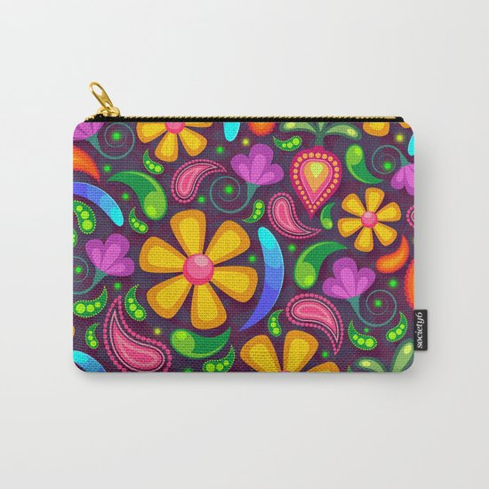 Brightly Colored Yellow Floral Pattern Carry-All Pouch