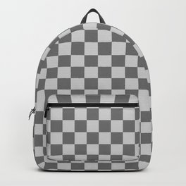 Light Gray and Dark Gray Checkerboard Backpack