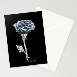 Rose 03b Botanical Flower * Blue Black Rose Stationery Cards