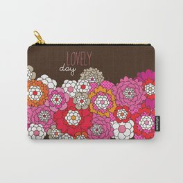 Lovely day - retro flowers illustration print Carry-All Pouch