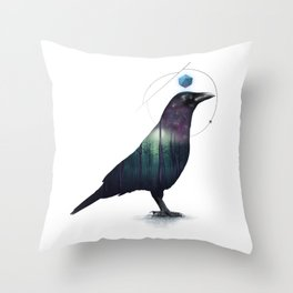 Galactic Crow Throw Pillow