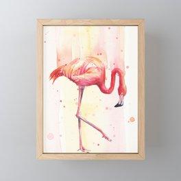 Pink Flamingo Rain | Facing Right Framed Mini Art Print
