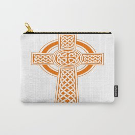 St Patrick's Day Celtic Cross Orange and White Carry-All Pouch