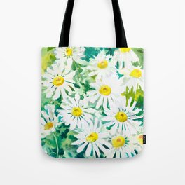 Chamomile Flowers, Herval design Field flowers wild flowers floral art Tote Bag