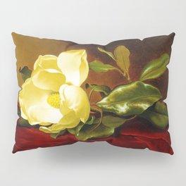 A Yellow Magnolia on Red Velvet by Martin Johnson Head Pillow Sham