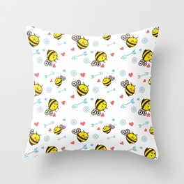 Cuddly Bees and Arrows Throw Pillow