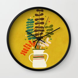 Potted Leaves Wall Clock