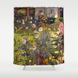 Garden at Vaucresson by Édouard Vuillard - Les Nabis Oil Painting Shower Curtain