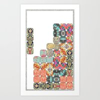 tetris Art Prints featuring TETRIS by Bianca Green