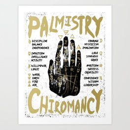 Palmistry, chiromancy. Black hand on a white textured background. Art Print