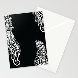 Black And White Polynesian Tribal Pattern Stationery Cards