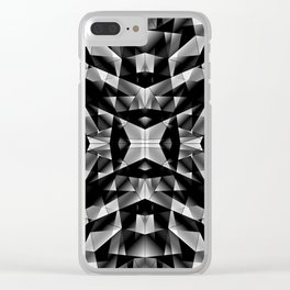 Exclusive mosaic pattern of chaotic black and white fragments of glass, metal and ice floes. Clear iPhone Case