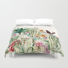 Blooming in the cactus Duvet Cover
