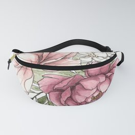 Watercolor Peony - Millennial Pink Peony Fanny Pack