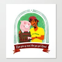 vegan Canvas Prints featuring Vegan by Bakal Evgeny