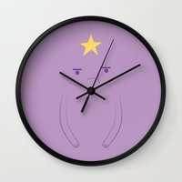 lumpy space princess Wall Clocks featuring Lumpy Space Princess by Imagemagnet