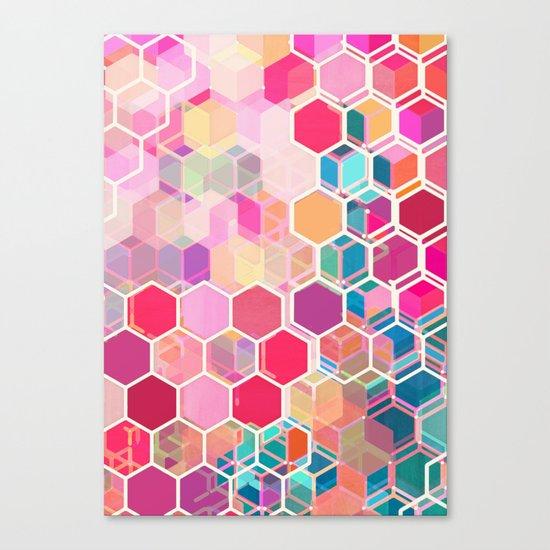 Rainbow Honeycomb - colorful hexagon pattern Canvas Print