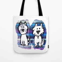 Two very serious Westies Tote Bag