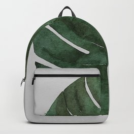 Monstera Leaf Dark Green Botanical Tropical Watercolor Painting Art Print Wall Decor  Backpack