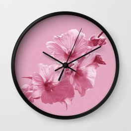 Pink Mallow Flowers Photo to Paint in Pink Wall Clock