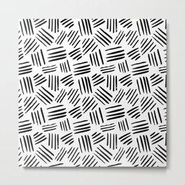 Abstract black white watercolor brushstrokes motif Metal Print