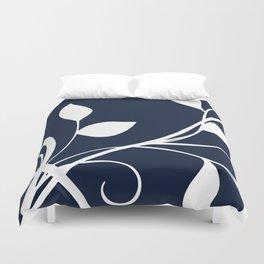 Floral Elegance Navy White Duvet Cover