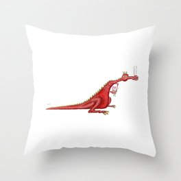 Dragon with flowers Throw Pillow