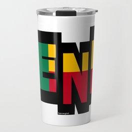 Benin font with Beninese Flag Travel Mug