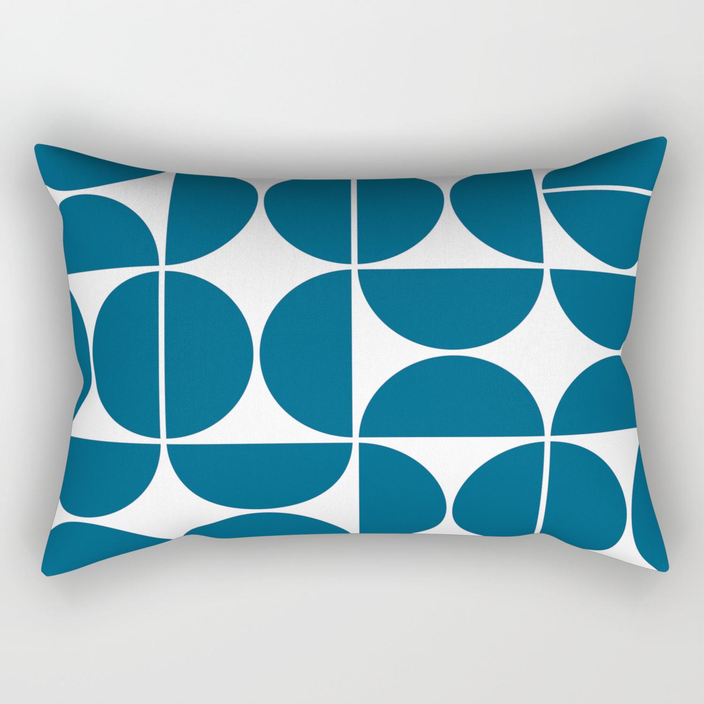 Picture of: Mid Century Modern Geometric 04 Blue Rectangular Pillow By Theoldartstudio Society6